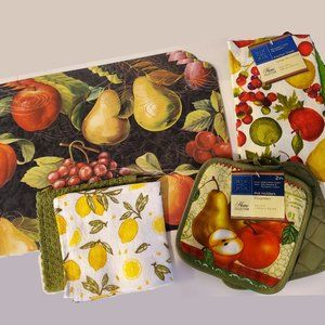 Other - Kitchen Fruit Decor Set 10pc Mats Towels Potholder